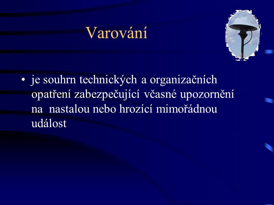 Prostředky používané k varování Koncové prvky varování •rotační sirény •elektronické sirény •obecní rozhlasy