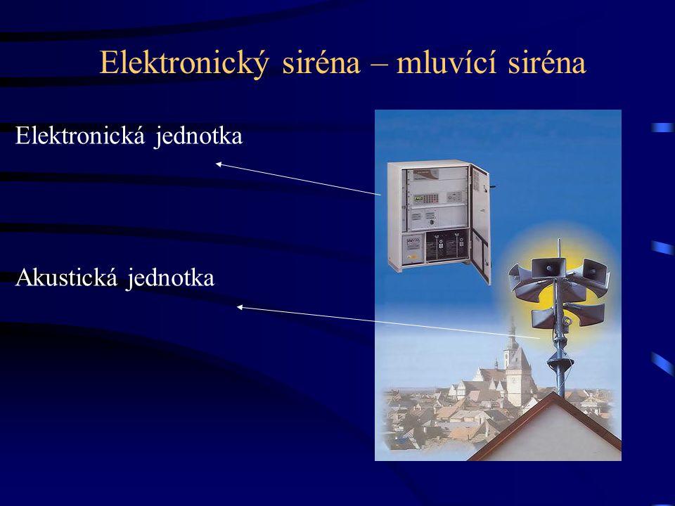 Místní informační systémy •na bázi místního (obecního) rozhlasu nebo kabelové televize •umožňuje nejen hlášení běžných zpráv, ale i vysílání varovného signálu •urychluje, zkvalitňuje, zpřesňuje, rozšiřuje informování obyvatelstva •výhoda (ovládání z více míst – HZS, PČR, vstupů – telefon, sms)