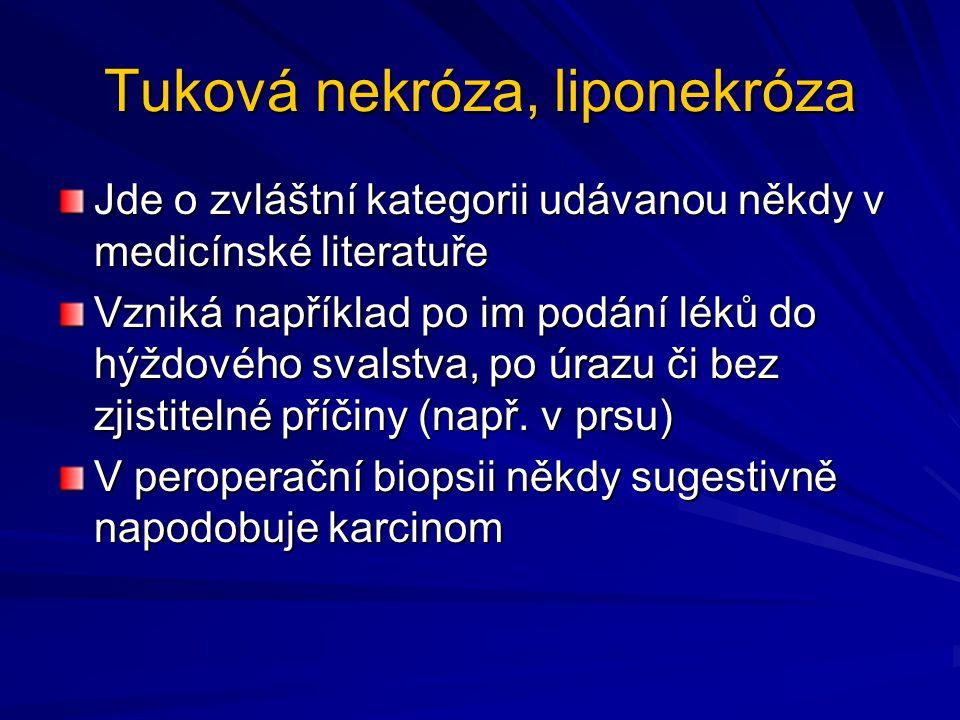 Tuková nekróza, liponekróza Jde o zvláštní kategorii udávanou někdy v medicínské literatuře Vzniká například po im podání léků do hýždového svalstva,