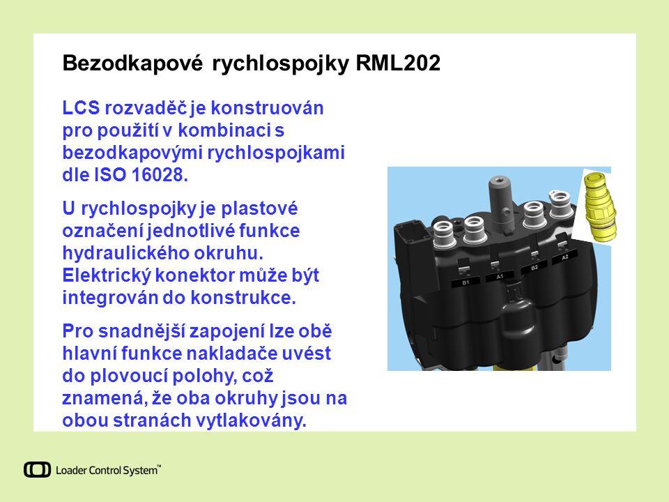 Bezodkapové rychlospojky RML202 LCS rozvaděč je konstruován pro použití v kombinaci s bezodkapovými rychlospojkami dle ISO 16028. U rychlospojky je pl