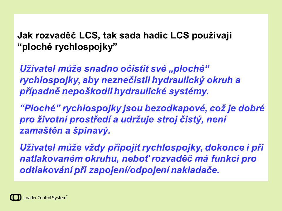 """Jak rozvaděč LCS, tak sada hadic LCS používají """"ploché rychlospojky"""" Uživatel může snadno očistit své """"ploché"""" rychlospojky, aby neznečistil hydraulic"""