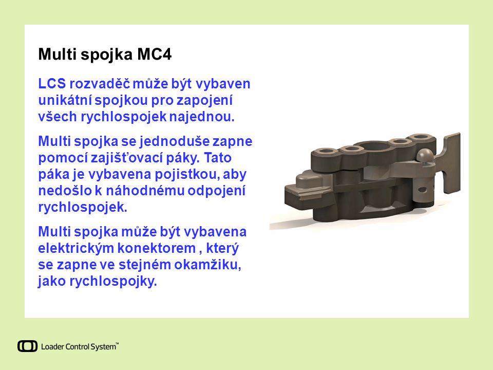 Multi spojka MC4 LCS rozvaděč může být vybaven unikátní spojkou pro zapojení všech rychlospojek najednou. Multi spojka se jednoduše zapne pomocí zajiš