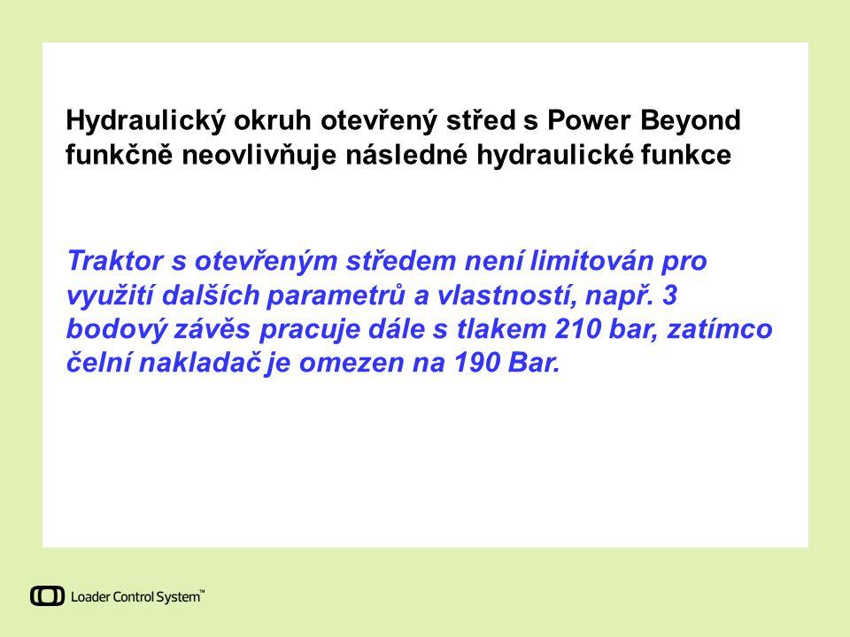 Hydraulický okruh otevřený střed s Power Beyond funkčně neovlivňuje následné hydraulické funkce Traktor s otevřeným středem není limitován pro využití