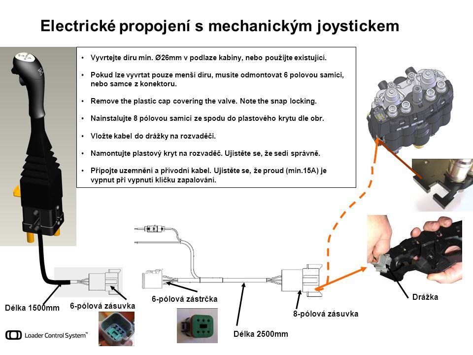 Délka 1500mm Délka 2500mm 6-pólová zásuvka 6-pólová zástrčka 8-pólová zásuvka Drážka Electrické propojení s mechanickým joystickem •Vyvrtejte díru min