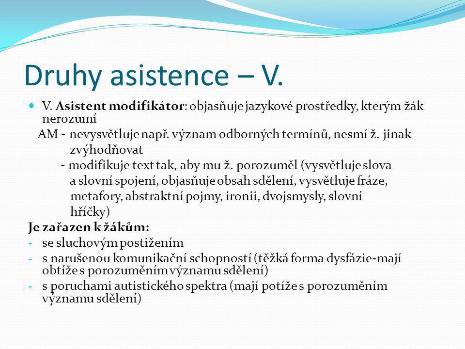 Druhy asistence – V.  V. Asistent modifikátor: objasňuje jazykové prostředky, kterým žák nerozumí AM - nevysvětluje např. význam odborných termínů, n