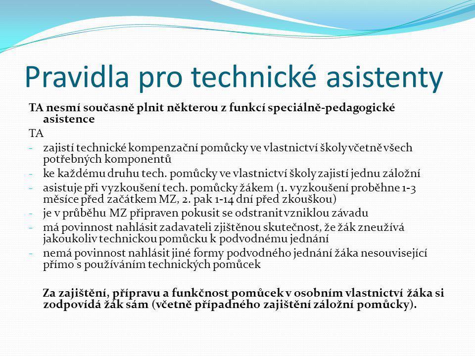 Pravidla pro technické asistenty TA nesmí současně plnit některou z funkcí speciálně-pedagogické asistence TA - zajistí technické kompenzační pomůcky
