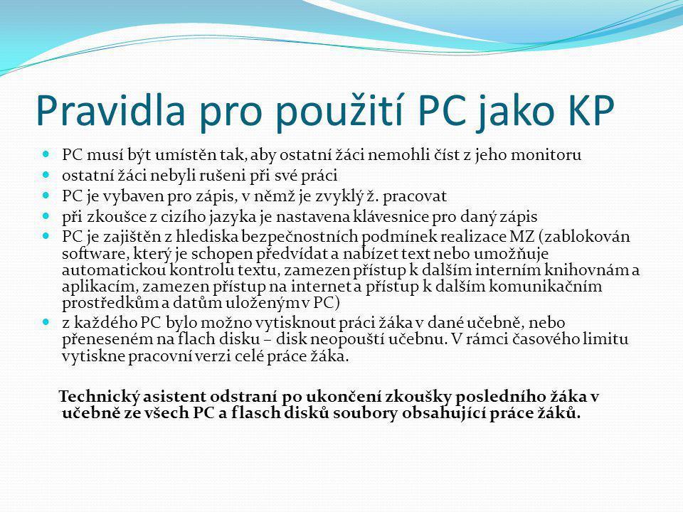 Pravidla pro použití PC jako KP  PC musí být umístěn tak, aby ostatní žáci nemohli číst z jeho monitoru  ostatní žáci nebyli rušeni při své práci 
