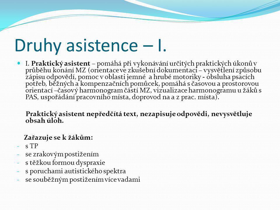 Druhy asistence – I.  I. Praktický asistent – pomáhá při vykonávání určitých praktických úkonů v průběhu konání MZ (orientace ve zkušební dokumentaci