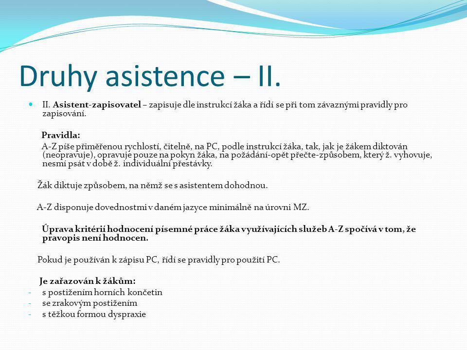 Druhy asistence – II.  II. Asistent-zapisovatel – zapisuje dle instrukcí žáka a řídí se při tom závaznými pravidly pro zapisování. Pravidla: A-Z píše