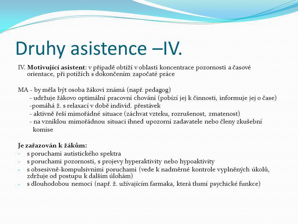 Druhy asistence –IV. IV. Motivující asistent: v případě obtíží v oblasti koncentrace pozornosti a časové orientace, při potížích s dokončením započaté