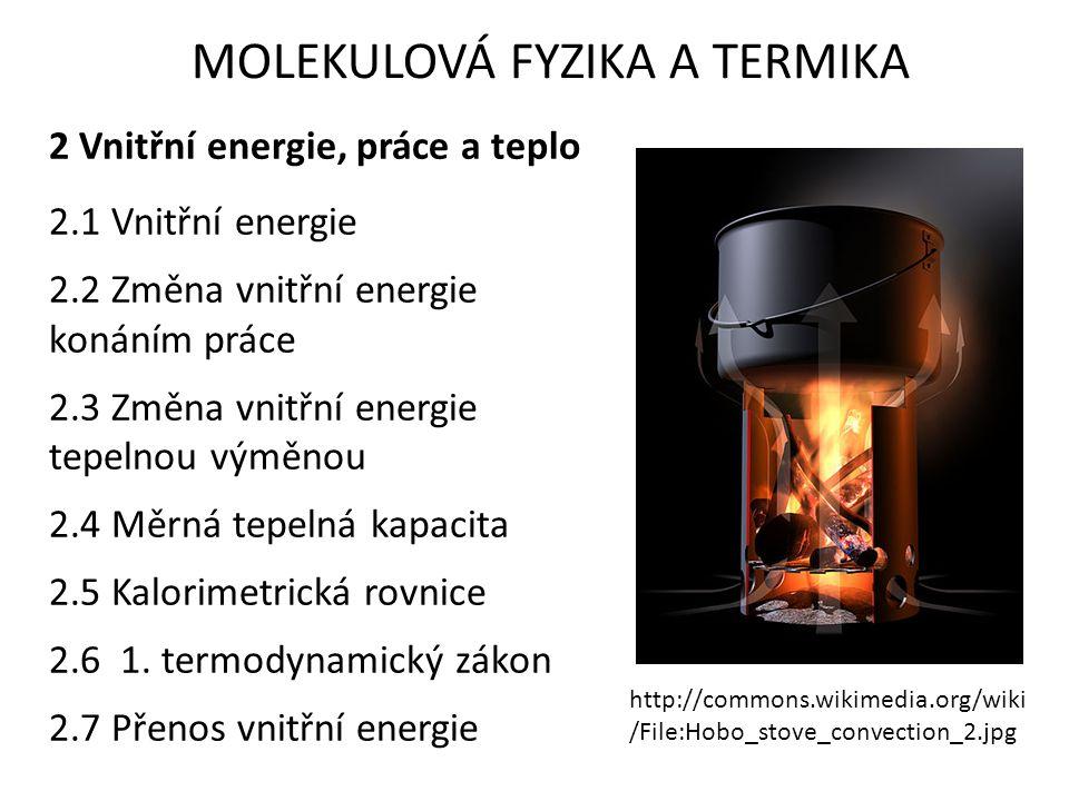 MOLEKULOVÁ FYZIKA A TERMIKA 2 Vnitřní energie, práce a teplo 2.1 Vnitřní energie 2.2 Změna vnitřní energie konáním práce 2.3 Změna vnitřní energie tep