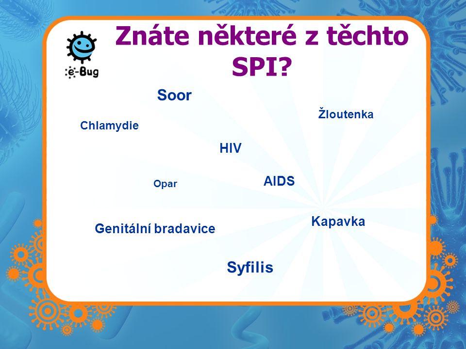 Znáte některé z těchto SPI? Chlamydie Opar HIV AIDS Kapavka Genitální bradavice Soor Žloutenka Syfilis