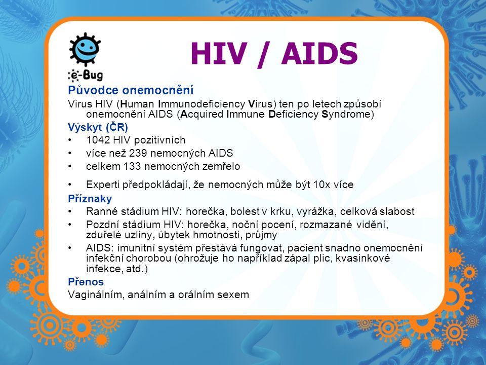 HIV / AIDS Původce onemocnění Virus HIV (Human Immunodeficiency Virus) ten po letech způsobí onemocnění AIDS (Acquired Immune Deficiency Syndrome) Výs