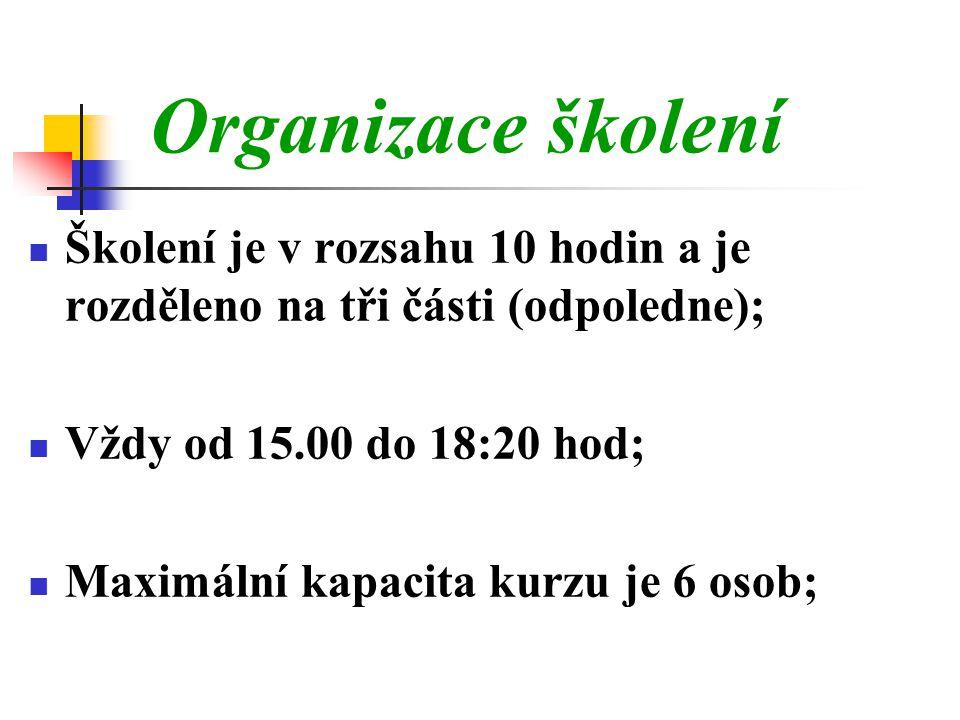 Školení je v rozsahu 10 hodin a je rozděleno na tři části (odpoledne);  Vždy od 15.00 do 18:20 hod;  Maximální kapacita kurzu je 6 osob; Organizace školení