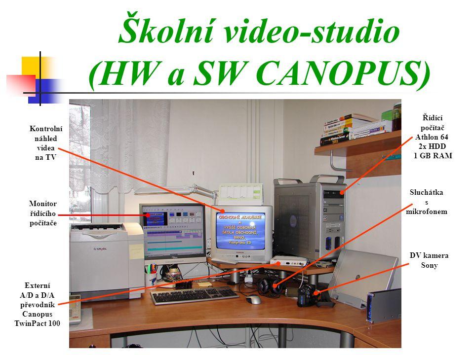 Školní video-studio (HW a SW CANOPUS) Kontrolní náhled videa na TV Monitor řídícího počítače Externí A/D a D/A převodník Canopus TwinPact 100 Řídící počítač Athlon 64 2x HDD 1 GB RAM Sluchátka s mikrofonem DV kamera Sony