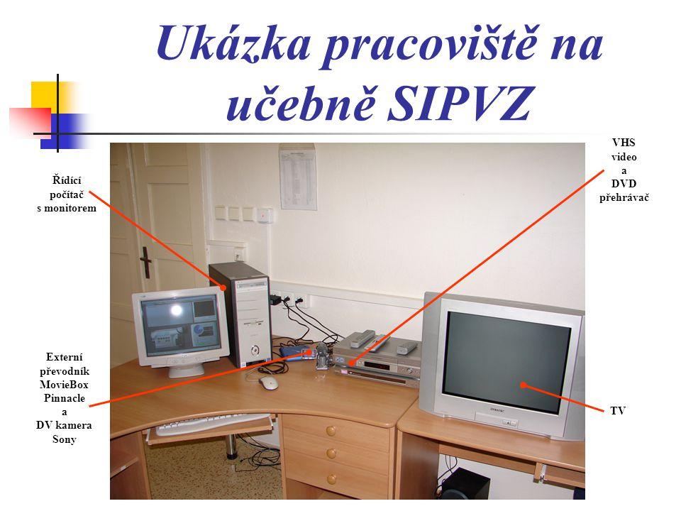 Ukázka pracoviště na učebně SIPVZ Řídící počítač s monitorem Externí převodník MovieBox Pinnacle a DV kamera Sony VHS video a DVD přehrávač TV