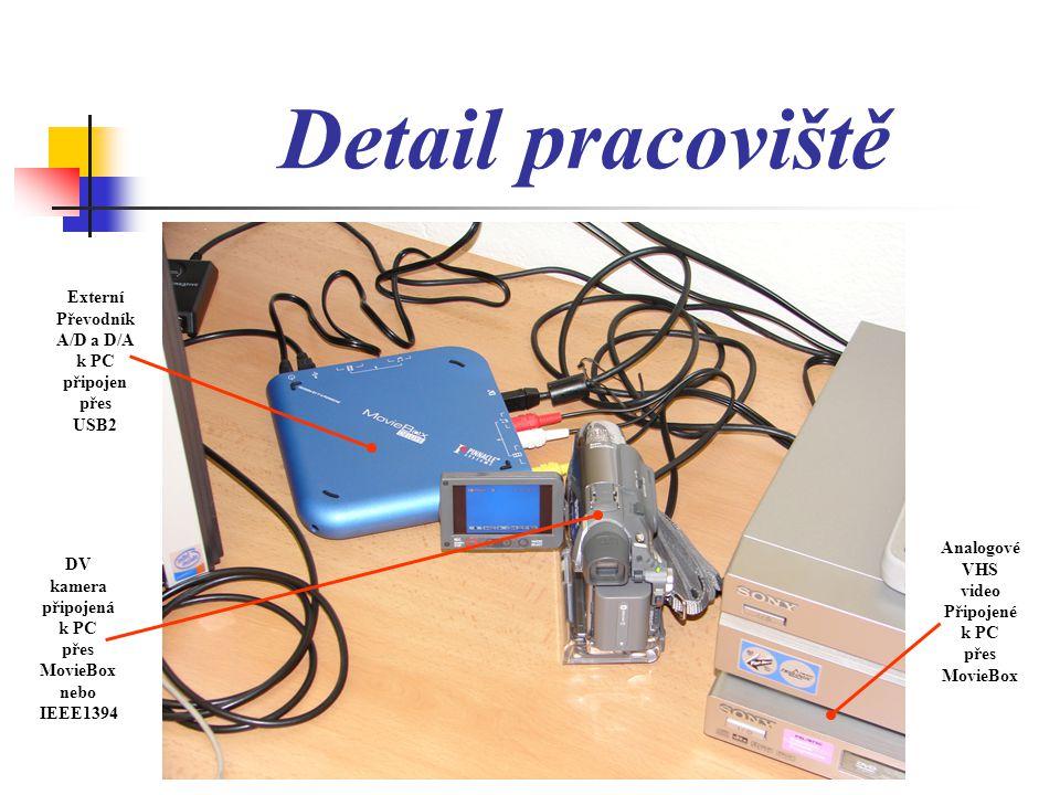 Detail pracoviště Externí Převodník A/D a D/A k PC připojen přes USB2 DV kamera připojená k PC přes MovieBox nebo IEEE1394 Analogové VHS video Připojené k PC přes MovieBox