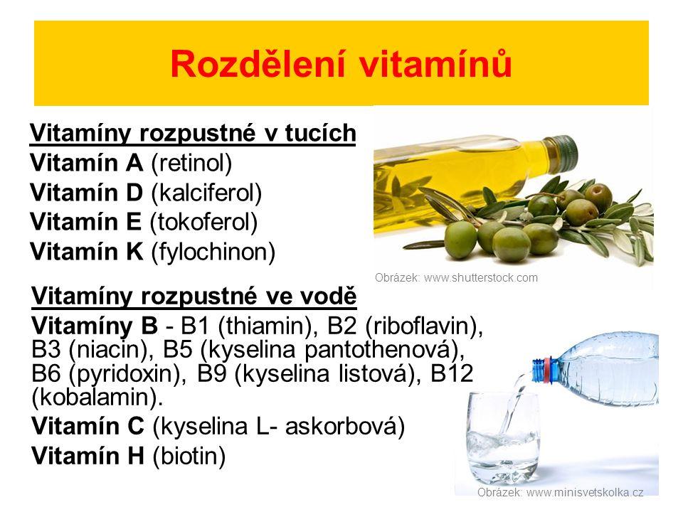 Rozdělení vitamínů Vitamíny rozpustné v tucích Vitamín A (retinol) Vitamín D (kalciferol) Vitamín E (tokoferol) Vitamín K (fylochinon) Vitamíny rozpus