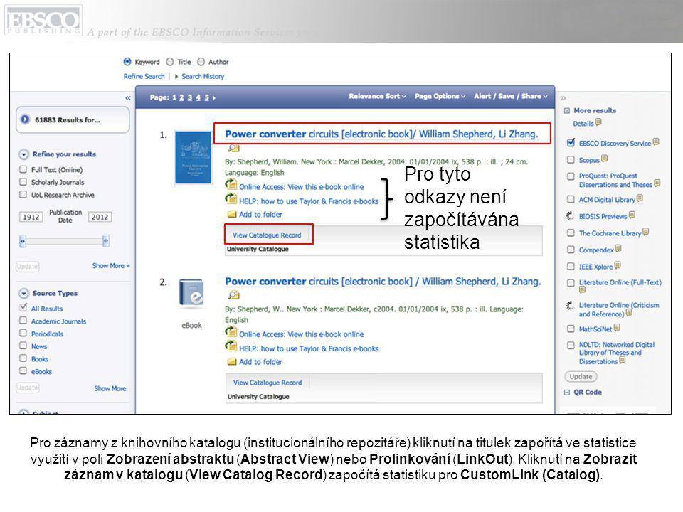 Pro záznamy z knihovního katalogu (institucionálního repozitáře) kliknutí na titulek zapořítá ve statistice využití v poli Zobrazení abstraktu (Abstract View) nebo Prolinkování (LinkOut).