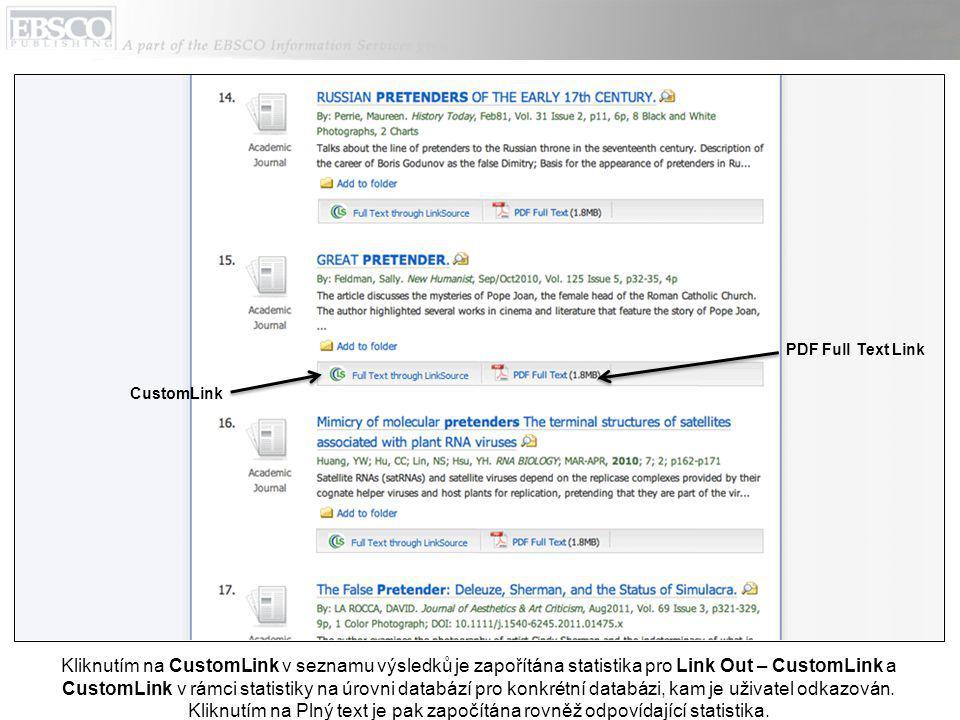 Kliknutím na CustomLink v seznamu výsledků je zapořítána statistika pro Link Out – CustomLink a CustomLink v rámci statistiky na úrovni databází pro konkrétní databázi, kam je uživatel odkazován.