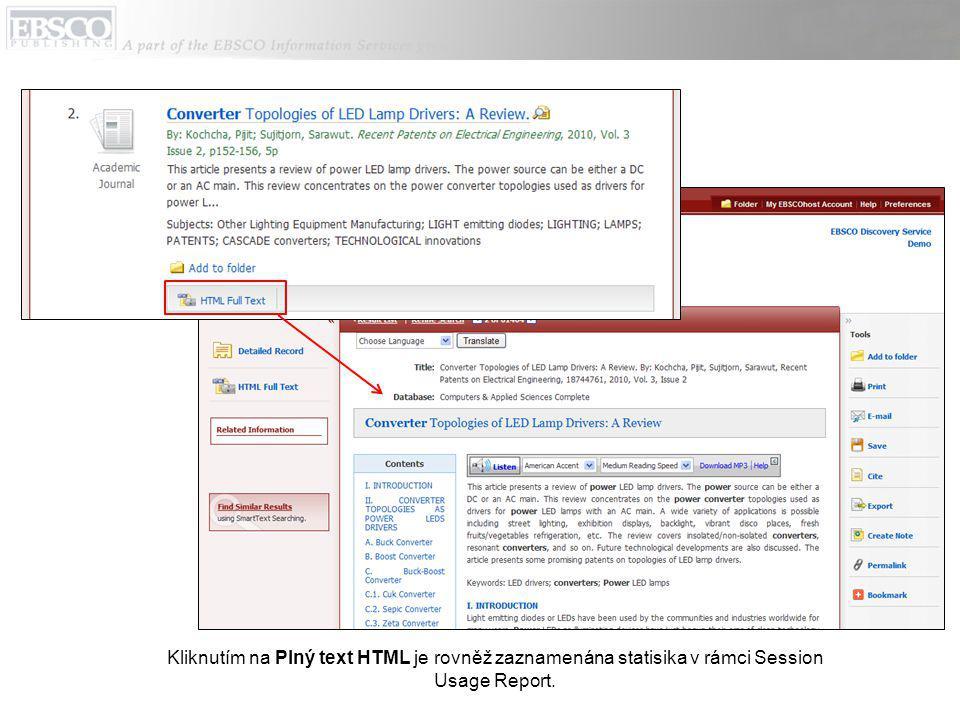 Kliknutím na Plný text HTML je rovněž zaznamenána statisika v rámci Session Usage Report.