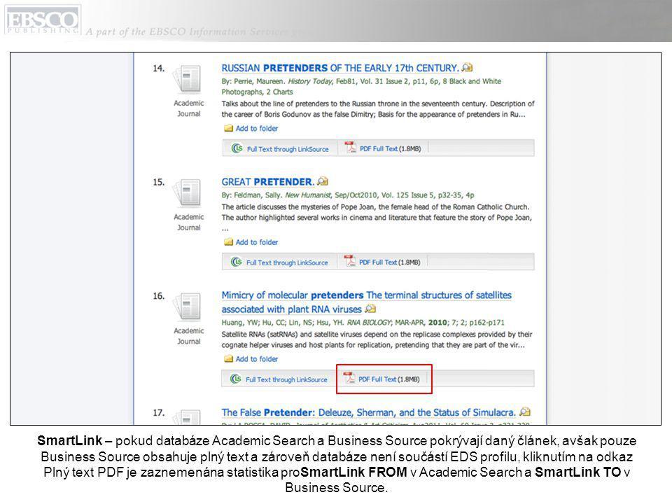 SmartLink – pokud databáze Academic Search a Business Source pokrývají daný článek, avšak pouze Business Source obsahuje plný text a zároveň databáze není součástí EDS profilu, kliknutím na odkaz Plný text PDF je zaznemenána statistika proSmartLink FROM v Academic Search a SmartLink TO v Business Source.