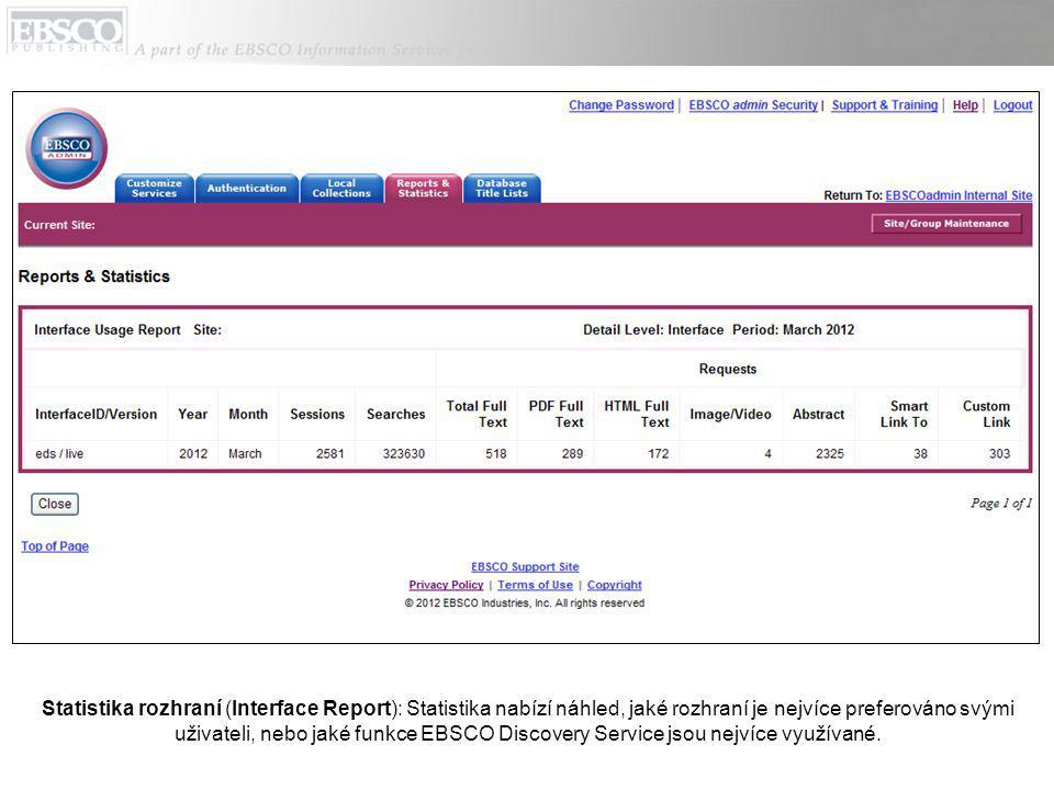 Statistika rozhraní (Interface Report): Statistika nabízí náhled, jaké rozhraní je nejvíce preferováno svými uživateli, nebo jaké funkce EBSCO Discovery Service jsou nejvíce využívané.