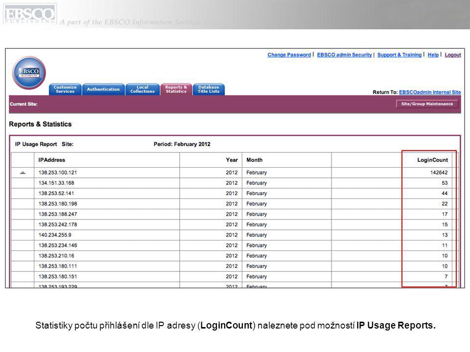 Statistiky počtu přihlášení dle IP adresy (LoginCount ) naleznete pod možností IP Usage Reports.