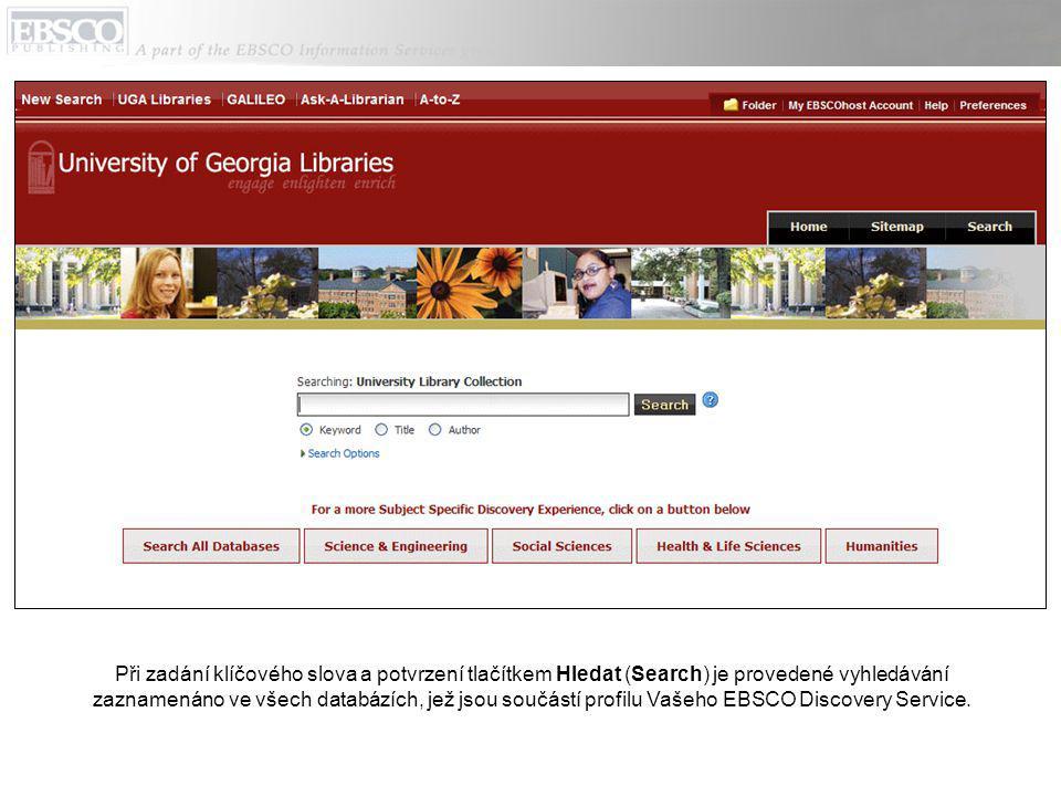 Při zadání klíčového slova a potvrzení tlačítkem Hledat (Search) je provedené vyhledávání zaznamenáno ve všech databázích, jež jsou součástí profilu Vašeho EBSCO Discovery Service.