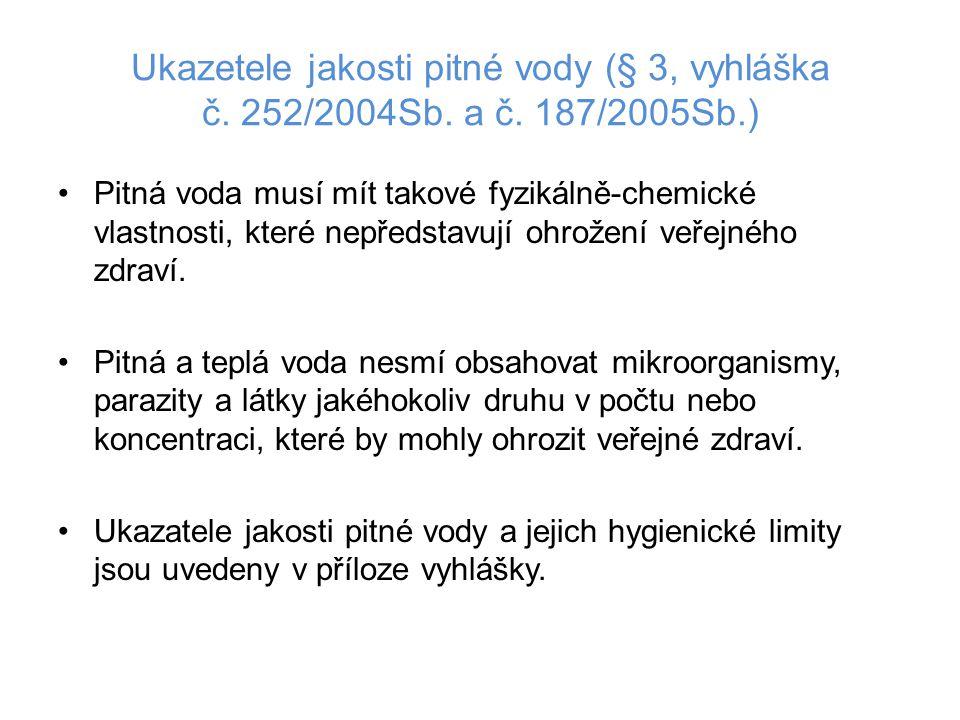 Ukazetele jakosti pitné vody (§ 3, vyhláška č. 252/2004Sb. a č. 187/2005Sb.) •Pitná voda musí mít takové fyzikálně-chemické vlastnosti, které nepředst