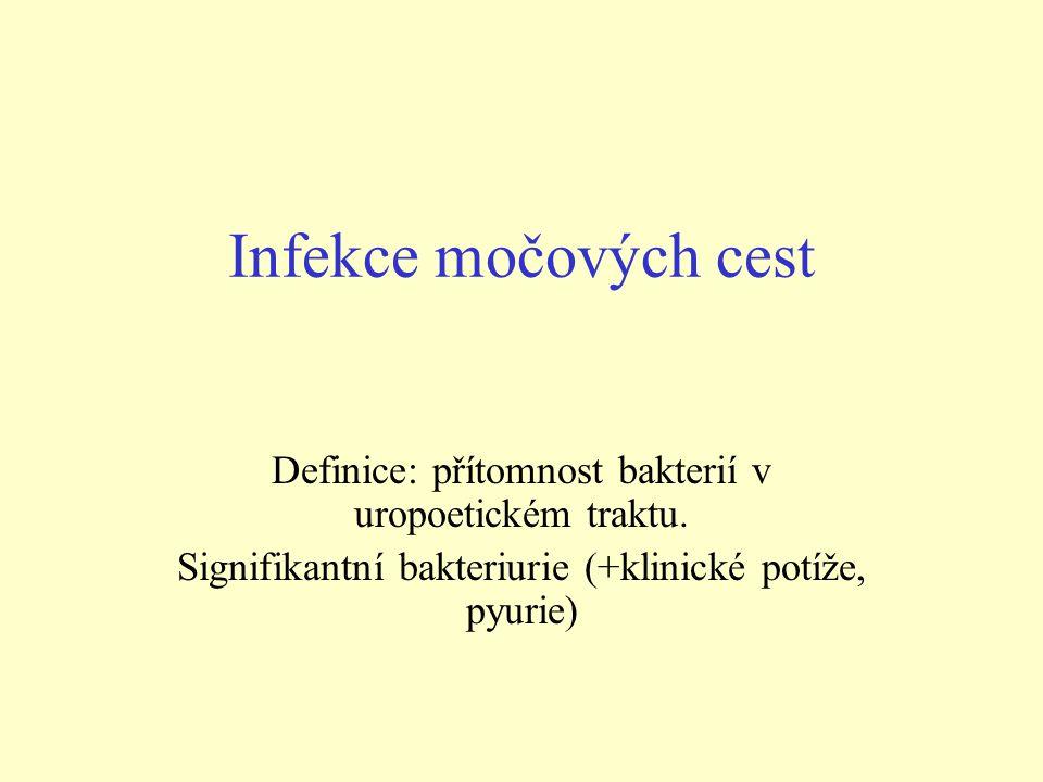 Infekce močových cest Definice: přítomnost bakterií v uropoetickém traktu. Signifikantní bakteriurie (+klinické potíže, pyurie)