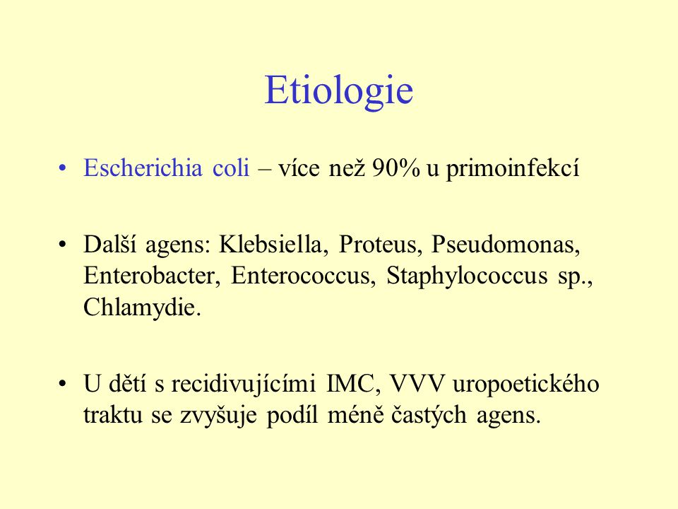 Etiologie •Escherichia coli – více než 90% u primoinfekcí •Další agens: Klebsiella, Proteus, Pseudomonas, Enterobacter, Enterococcus, Staphylococcus s