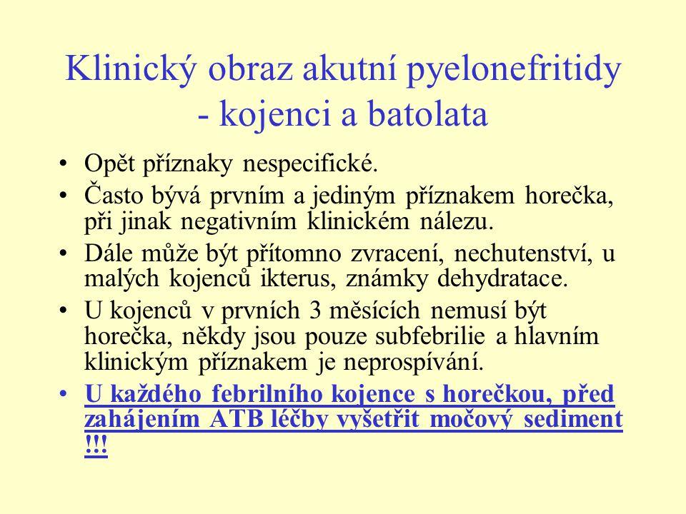 Klinický obraz akutní pyelonefritidy - kojenci a batolata •Opět příznaky nespecifické. •Často bývá prvním a jediným příznakem horečka, při jinak negat