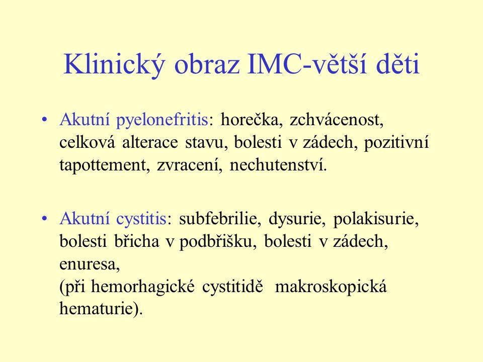 Laboratorní vyšetření - moč •1/ vyšetření moči chemicky a močový sediment: • - v sedimentu leukocyturie, někdy mírná mikroskopická hematurie nebo mírná proteinurie • - nález bakterií v močovém sedimentu nemá pro stanovení diagnózy IMC význam •2/ vyšetření moče na kvantitativní bakteriurii •- odebraná moč by měla být dodána na oddělení mikrobiologie do 2 hod po odběru.