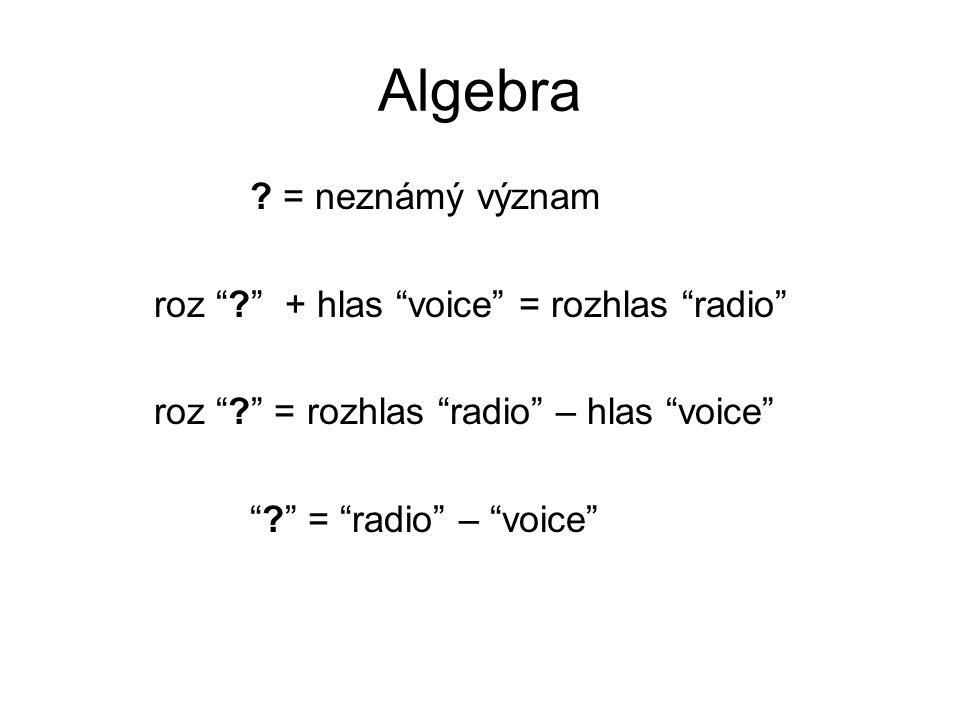 """Algebra ? = neznámý význam roz """"?"""" + hlas """"voice"""" = rozhlas """"radio"""" roz """"?"""" = rozhlas """"radio"""" – hlas """"voice"""" """"?"""" = """"radio"""" – """"voice"""""""