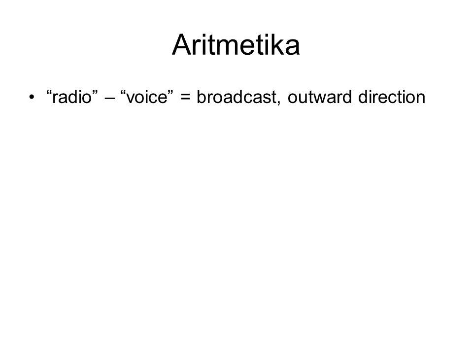 "Aritmetika •""radio"" – ""voice"" = broadcast, outward direction"