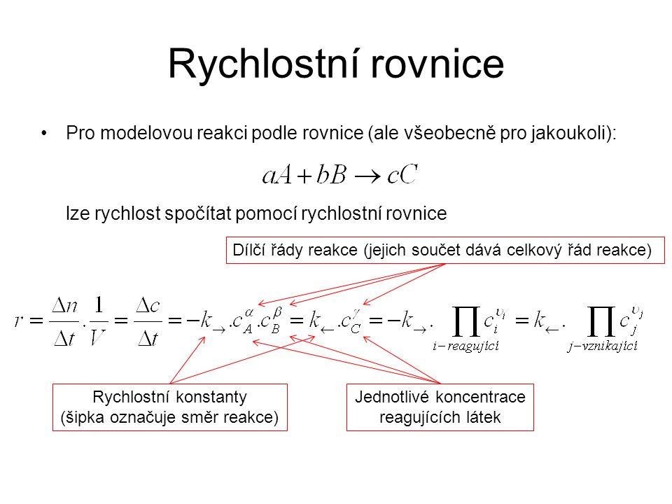 Rychlostní rovnice •Pro modelovou reakci podle rovnice (ale všeobecně pro jakoukoli): lze rychlost spočítat pomocí rychlostní rovnice Dílčí řády reakc
