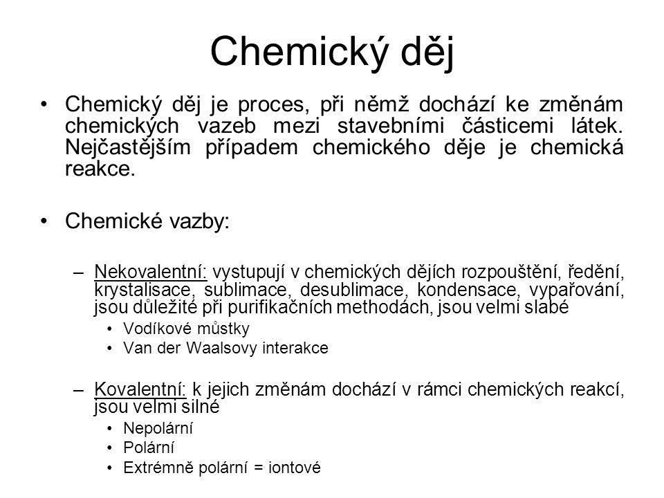 Chemický děj •Chemický děj je proces, při němž dochází ke změnám chemických vazeb mezi stavebními částicemi látek. Nejčastějším případem chemického dě