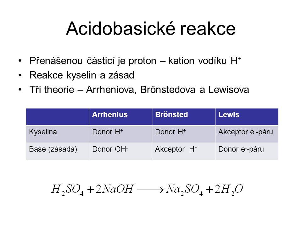 Acidobasické reakce •Přenášenou částicí je proton – kation vodíku H + •Reakce kyselin a zásad •Tři theorie – Arrheniova, Brönstedova a Lewisova Arrhen