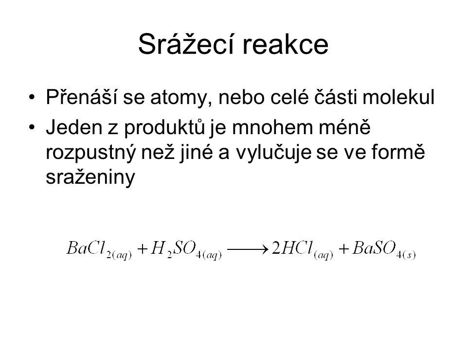 Srážecí reakce •Přenáší se atomy, nebo celé části molekul •Jeden z produktů je mnohem méně rozpustný než jiné a vylučuje se ve formě sraženiny