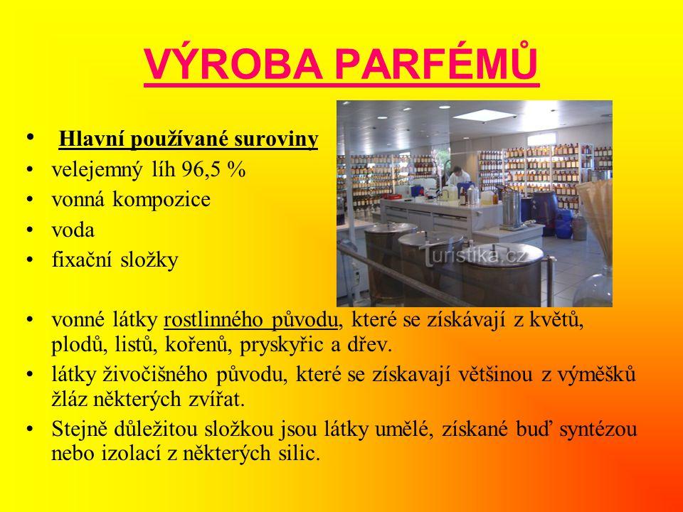 VÝROBA PARFÉMŮ • Hlavní používané suroviny •velejemný líh 96,5 % •vonná kompozice •voda •fixační složky •vonné látky rostlinného původu, které se získ