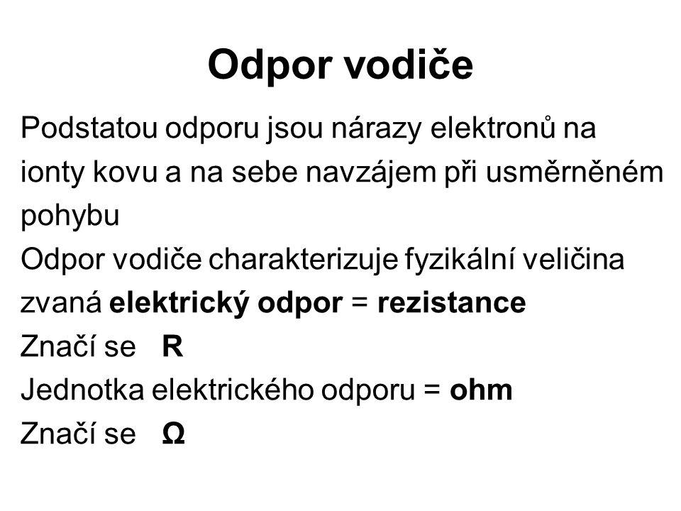 Odpor vodiče Podstatou odporu jsou nárazy elektronů na ionty kovu a na sebe navzájem při usměrněném pohybu Odpor vodiče charakterizuje fyzikální veličina zvaná elektrický odpor = rezistance Značí se R Jednotka elektrického odporu = ohm Značí se Ω