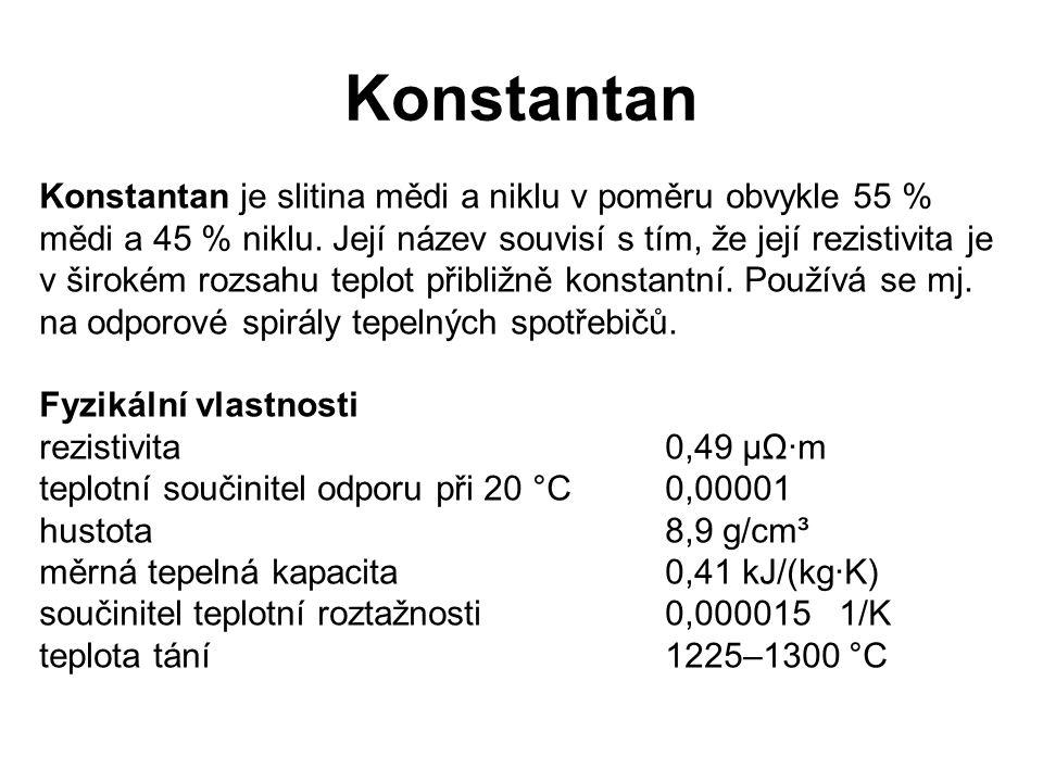 Konstantan Konstantan je slitina mědi a niklu v poměru obvykle 55 % mědi a 45 % niklu. Její název souvisí s tím, že její rezistivita je v širokém rozs