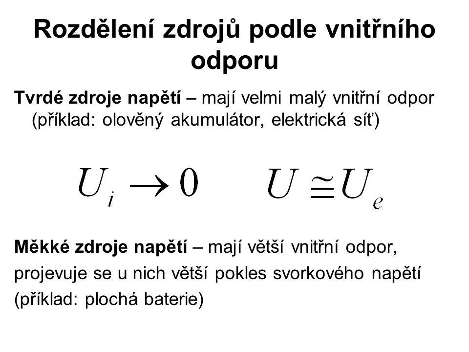 Rozdělení zdrojů podle vnitřního odporu Tvrdé zdroje napětí – mají velmi malý vnitřní odpor (příklad: olověný akumulátor, elektrická síť) Měkké zdroje