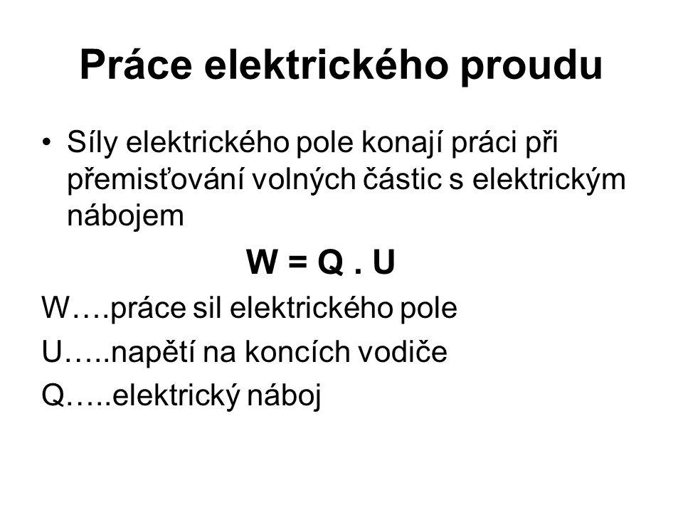 Práce elektrického proudu •Síly elektrického pole konají práci při přemisťování volných částic s elektrickým nábojem W = Q. U W….práce sil elektrickéh
