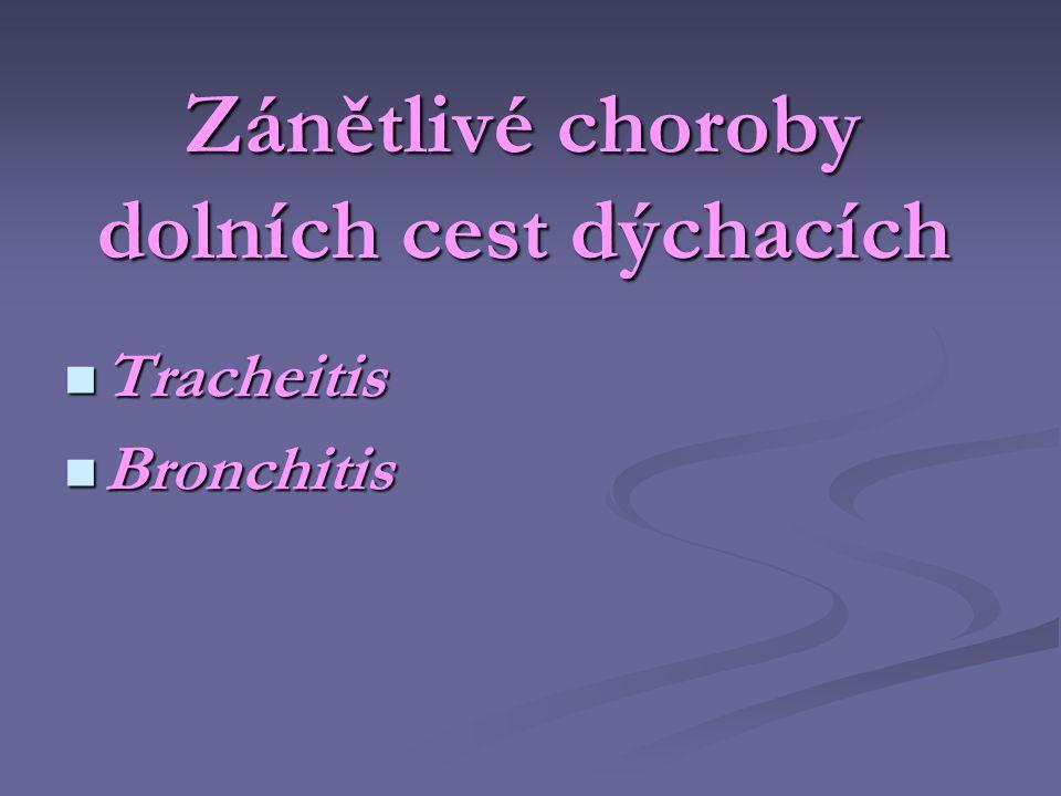 Zánětlivé choroby dolních cest dýchacích  Tracheitis  Bronchitis