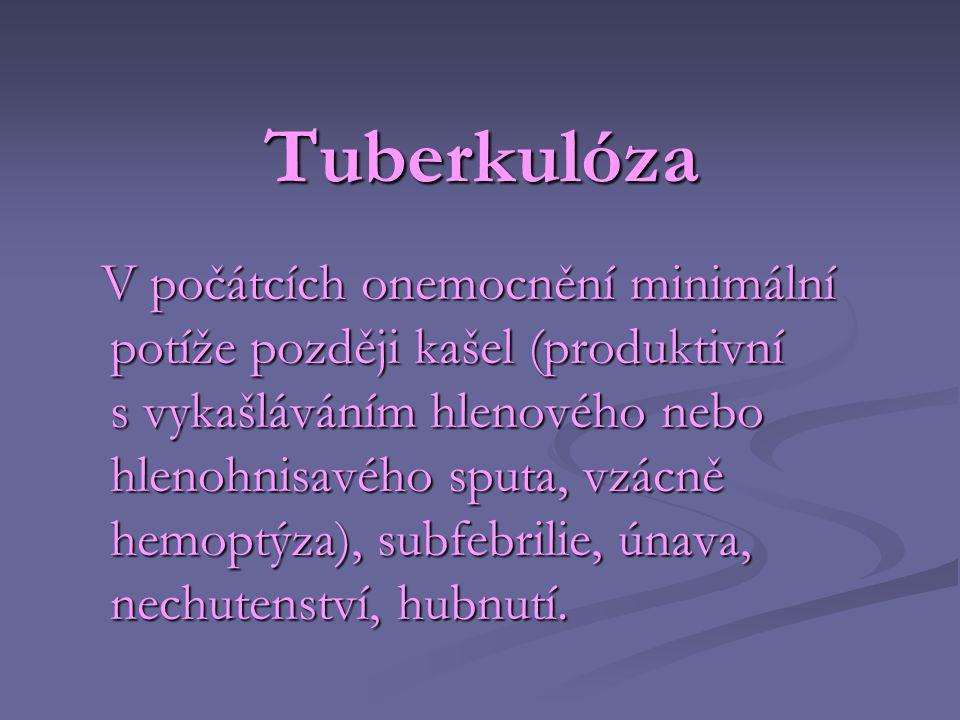Tuberkulóza V počátcích onemocnění minimální potíže později kašel (produktivní s vykašláváním hlenového nebo hlenohnisavého sputa, vzácně hemoptýza),