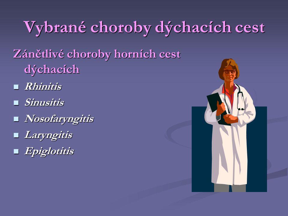 Vybrané choroby dýchacích cest Zánětlivé choroby horních cest dýchacích  Rhinitis  Sinusitis  Nosofaryngitis  Laryngitis  Epiglotitis
