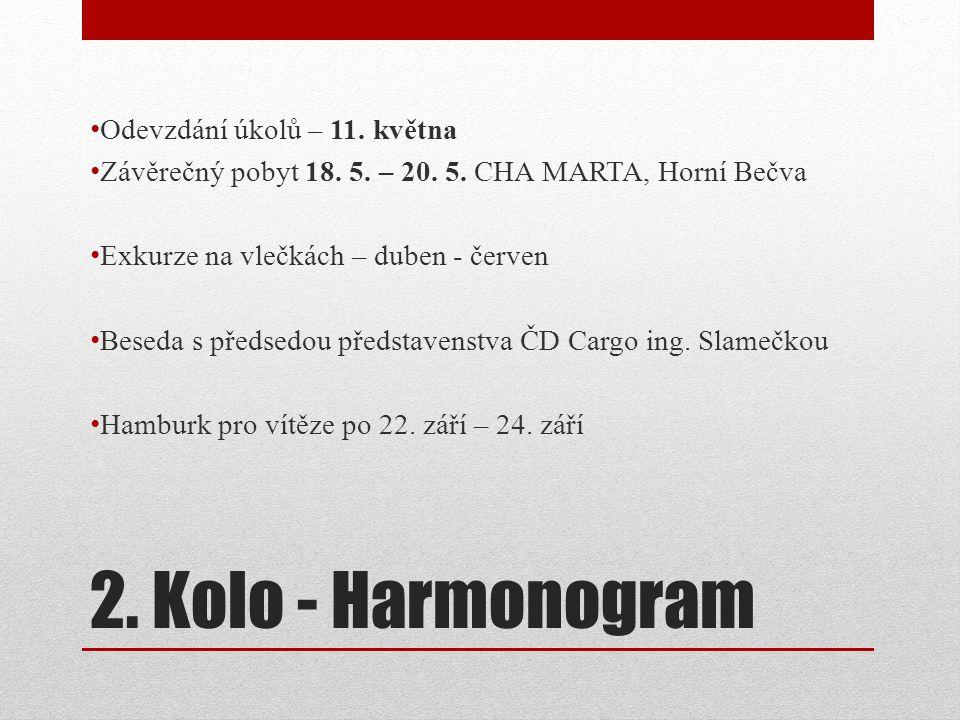 2. Kolo - Harmonogram • Odevzdání úkolů – 11. května • Závěrečný pobyt 18. 5. – 20. 5. CHA MARTA, Horní Bečva • Exkurze na vlečkách – duben - červen •