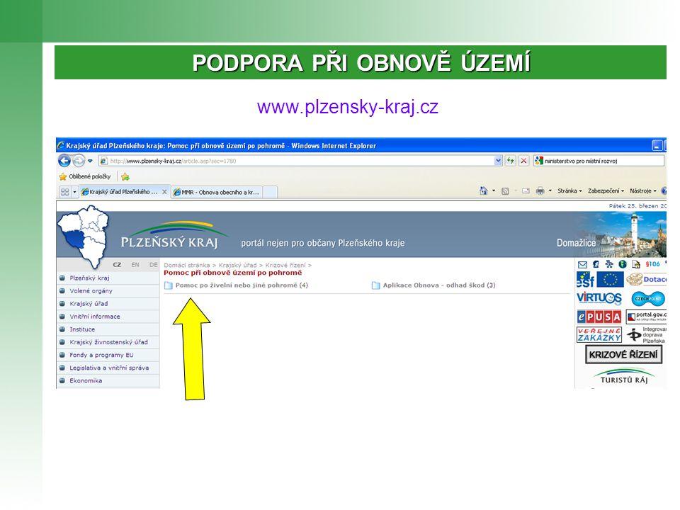 www.plzensky-kraj.cz PODPORA PŘI OBNOVĚ ÚZEMÍ